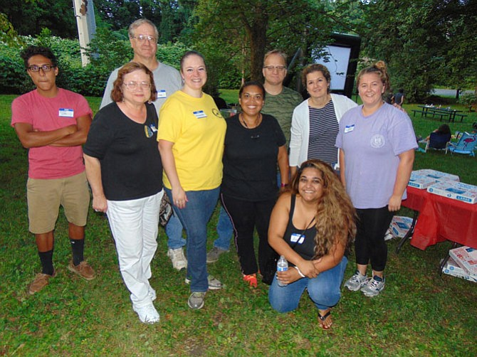The organizers of the Pizza and Movie Night during National Night Out at Cardinal Estates in Burke on Tuesday, Aug. 1, 2017.
