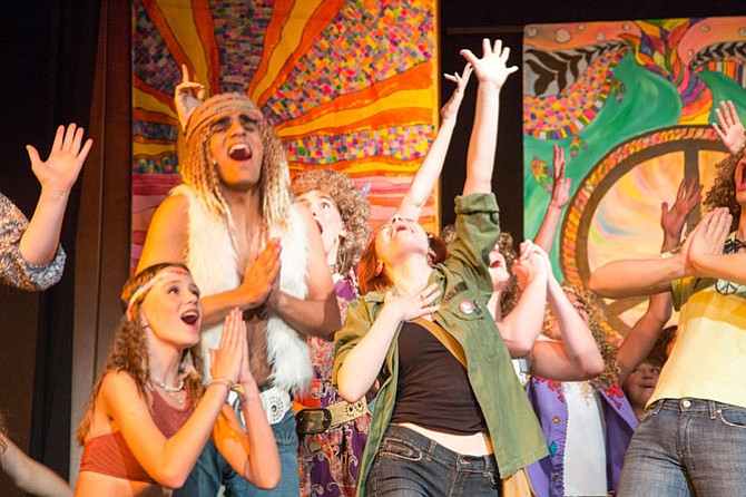 "The Vienna Youth Players cast performs the Off-Broadway production of ""Hair"" at Vienna Baptist Church Friday night."