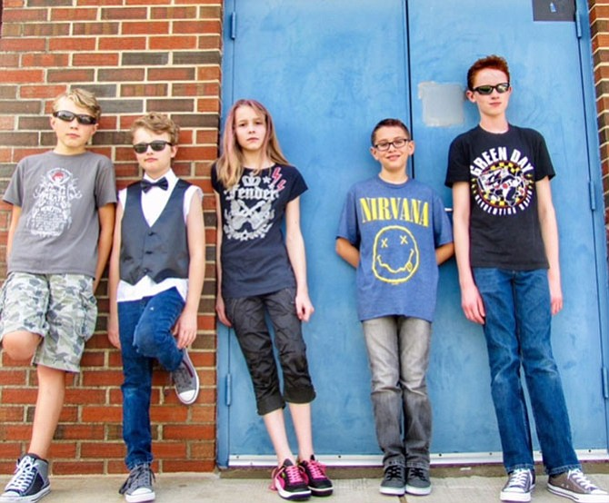 With their post-Grunge outfits, the Magnetic Toxins include Hunter Malecki, 13, left, Anderson Bonanno, 10,  Maddie Powell, 11, Christian Moreno, 10, and Ryan Bonanno, 13.