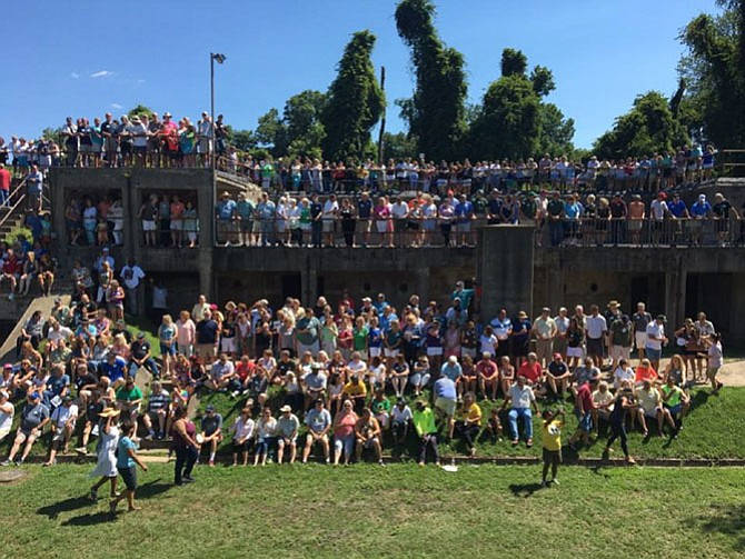 All classes gather for the annual reunion photo at the fort on Sunday.
