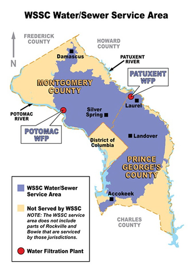 WSSC, whose service area is pictured here, is considering modifying its existing rate structures, which have been in place for 25 years.