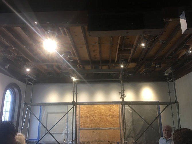 A bowing ceiling beam in City Hall's council work room, recently discovered during the course of other work, exemplifies myriad problems with the historic government building. City Hall renovations will cost a total estimated $34.8 million over FY19-27 — the most expensive city facility project under the Task Force's consideration.