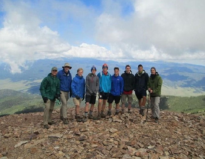 Joe Margraf and his crew after they summited Baldy Mountain at a height of 12,441 feet.