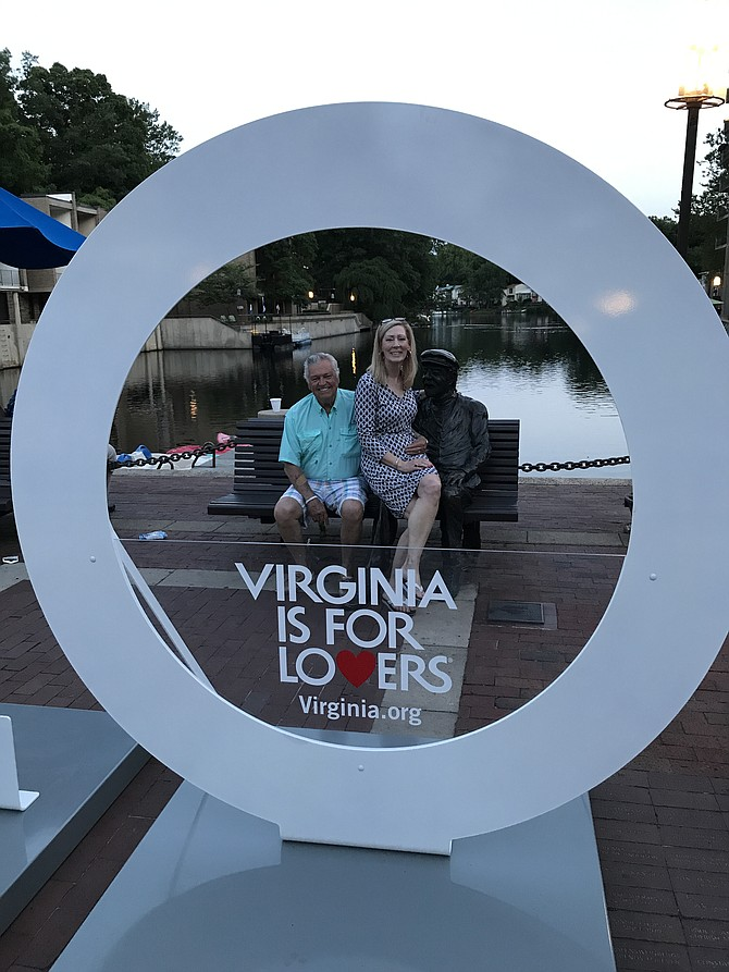 Jim and Karen Cleveland with Bronze Bob and the Virginia is for Lovers Traveling Sculpture.
