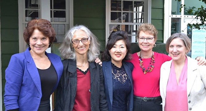 From left: Pipeline Playwrights from Alexandria include Ann Timmons, Nicole Burton, Soo-Jin Lee, Patricia Connelly, and Jean Koppen.