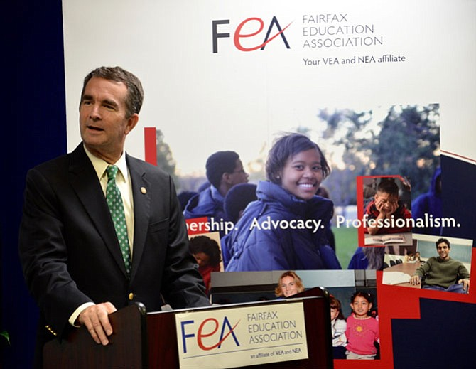 Lt. Gov. Ralph Northam, the Democratic candidate for governor, outlines his platform on public education in Virginia at the offices of the Fairfax Education Association.