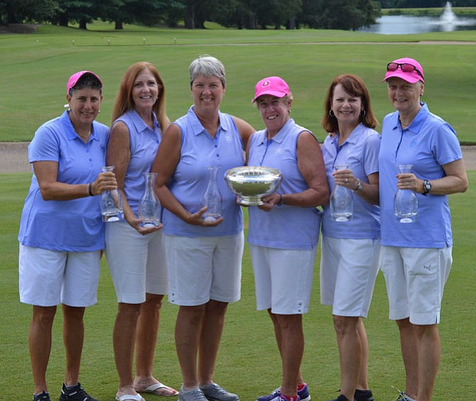 Mount Vernon Country Club won the 2017 Virginia state women's team championship. From left are Susan Podolsky, Joan Gardner, Debbie Simpson, captain Linda DiVall, Katie Cox and Shawn McCullough.