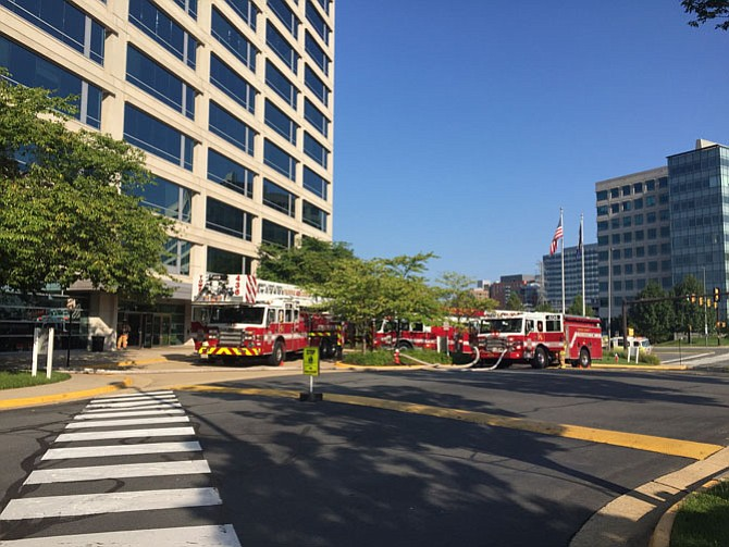 Firefighters were dispatched for a fire alarm in a high rise building in the 12000 block of Sunset Hills Road in Reston on Sunday morning, Aug. 20.