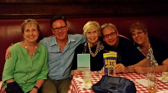 Grace Machanic, center, attended the Broadway Teacher's Workshop in New York City just a few weeks before her death. She enjoyed dinner at Sardi's on July 22 with Alexandria theater veterans Kath Dillaber, Kevin Tuerff, Frank Shutts and Joanna Henry.