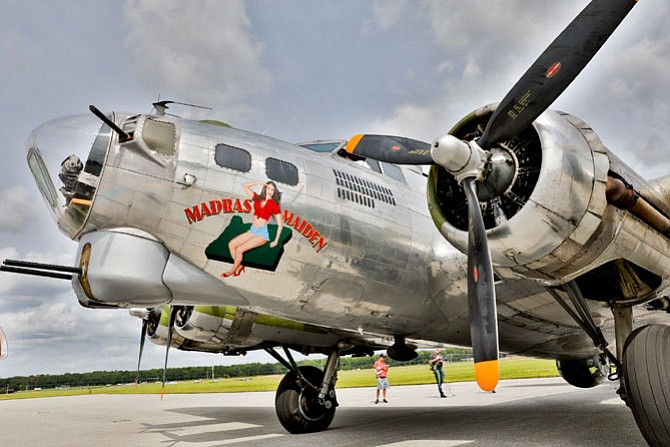 The World War II Boeing  B-17 Madras Maiden sits on the tarmac at Martin State Airport Aug. 28. The restored military aircraft will be open to the public Sept. 2-3.