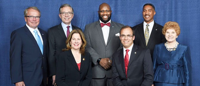 "From left: Councilman Tim Lovain, Councilman Paul Smedberg, Mayor Allison Silberberg, Councilman John Chapman, Vice Mayor Justin Wilson, Councilman Willie Bailey, and Councilwoman Redella ""Del"" Pepper."