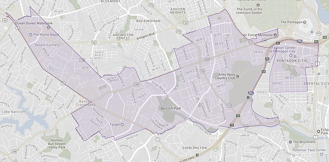The 49th District stretches from Seven Corners through Nauck and Penrose into Aurora Highlands. (map from the Virginia Public Access Project)