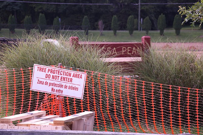 "The sign marking the field as ""Vanessa Pean Field"" and the trees and memorial for Vanessa Péan have been marked off by orange safety barrier fencing."
