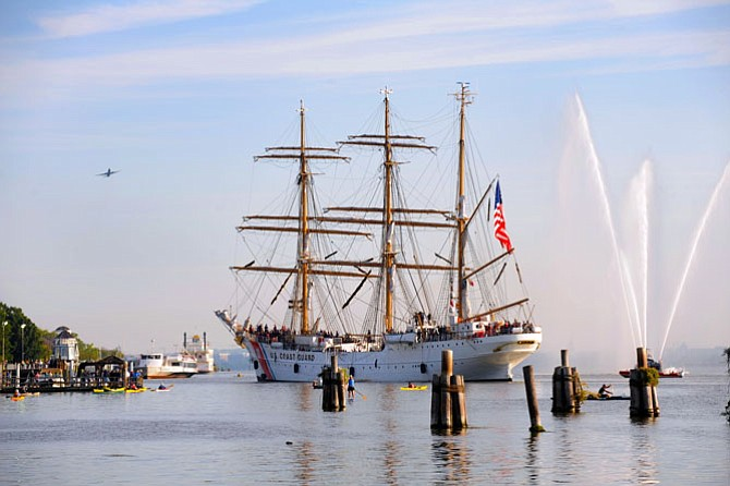 "The U.S. Coast Guard Cutter Eagle moors at Point Lumley Park in Old Town Sept. 4, marking the first time in 11 years that the vessel known as ""America's Tall Ship"" returned to the Washington area."