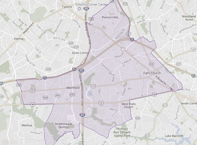 The 53rd House District stretches from Merrifield in the west to Falls Church in the east and from Pimmitt Hills to the north and Strathmeade Springs to the south. (map from the Virginia Public Access Project)