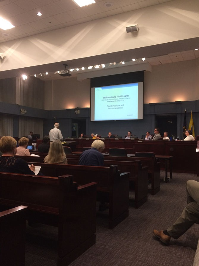 Arlington residents address the county Planning Commission regarding the Williamsburg playing field lights.