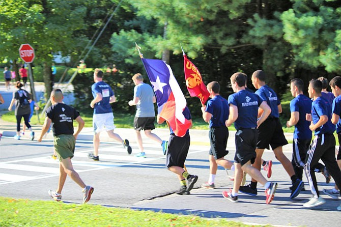 A Marine Corps ROTC Unit calls out cadence during the 9/11 Heroes Run.
