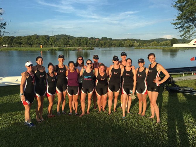 Alexandria Community Rowing Women's Competitive Sweep Team members at Melton Lake, Oakridge, Tenn.
