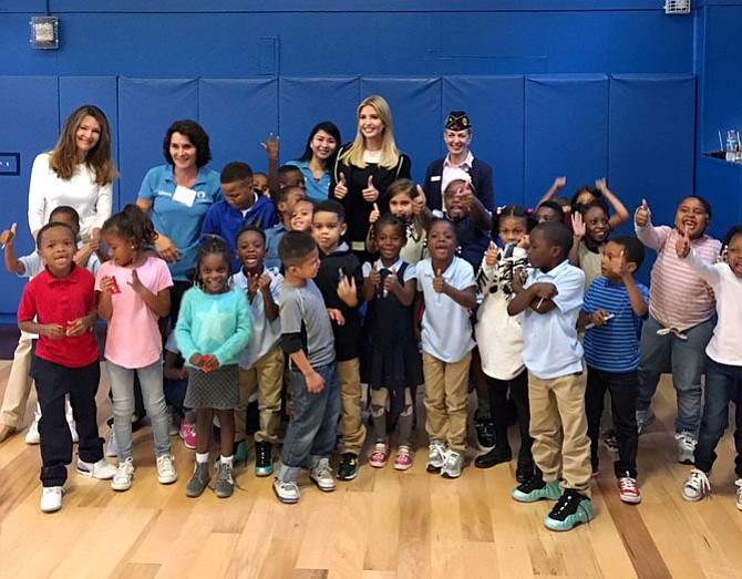 Special advisor to the President Ivanka Trump, center, gives a thumbs up after participating in the Volunteer Alexandria 9-11 service day at the Dunbar Alexandria Boys & Girls Club. Volunteers from American Legion Post 24 participated in the Sept. 11 event that focused on emergency preparedness.