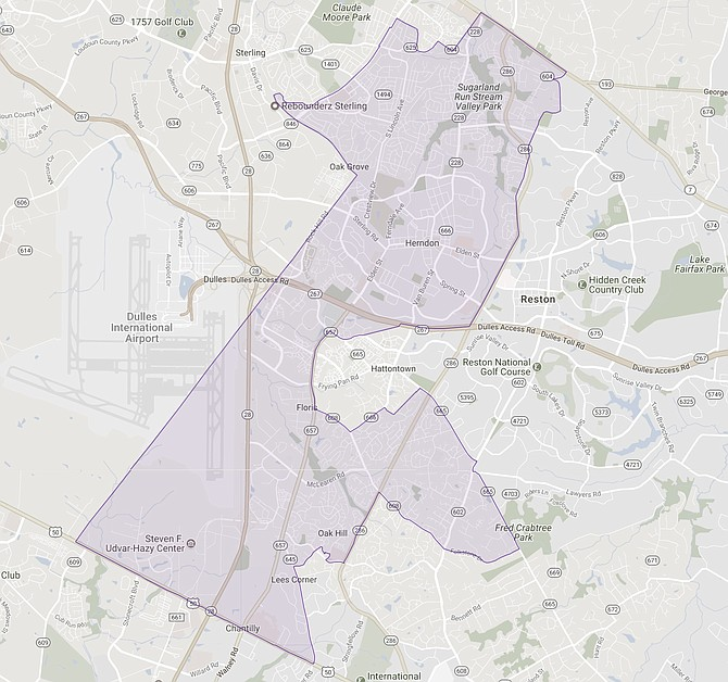 The 86th House District stretches from Chantilly through Oak Hill into Herndon and Sterling. (map from the Virginia Public Access Project)