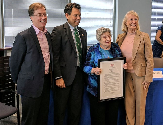 State Sen. Scott Surovell presented a commending resolution to Anne Andrews at a recent meeting of the South County Task Force. Andrews started the Task Force in 1975 and retired last year. Del. Paul Krizek and Del. Vivian Watts joined Surovell to present the resolution.