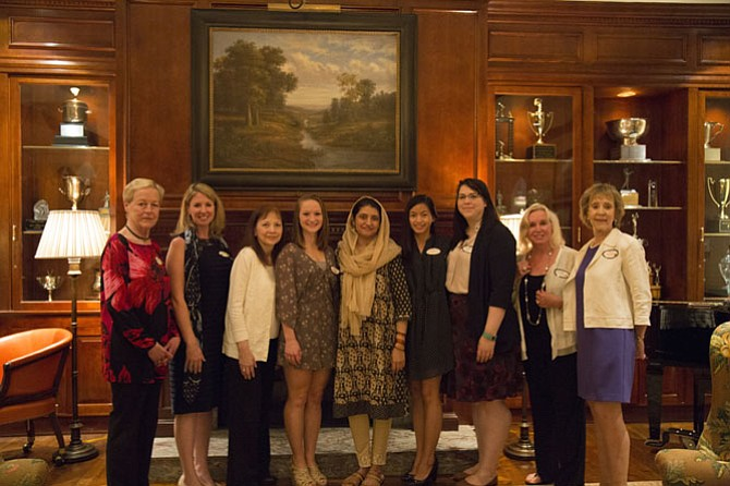 For the 2017-18 academic year, the GFFN Scholarship Fund, Inc. awarded six scholarships for a total of $8,500. Board members and scholarship recipients who attended the reception, from left: Wanda Miller, Christine Lavin and Candace Bovee, GFFN Scholarship Fund, Inc. board members; Paige Honbarrier, 2017 Bette Carter Dance Award Scholarship recipient and GMU student; Asma Sultana, 2017 general scholarship recipient and GMU student; Lun Lungsway, 2017 general scholarship recipient and NVCC student; Mary Bramley, assistant director of the NVCC Educational Foundation; and Marie Reilly, GFFN Scholarship Fund, Inc. board member, and Jean McNeal GFFN member.