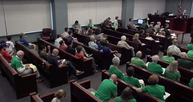 Opposition to Williamsburg lights attended the County Board meeting dressed in green.