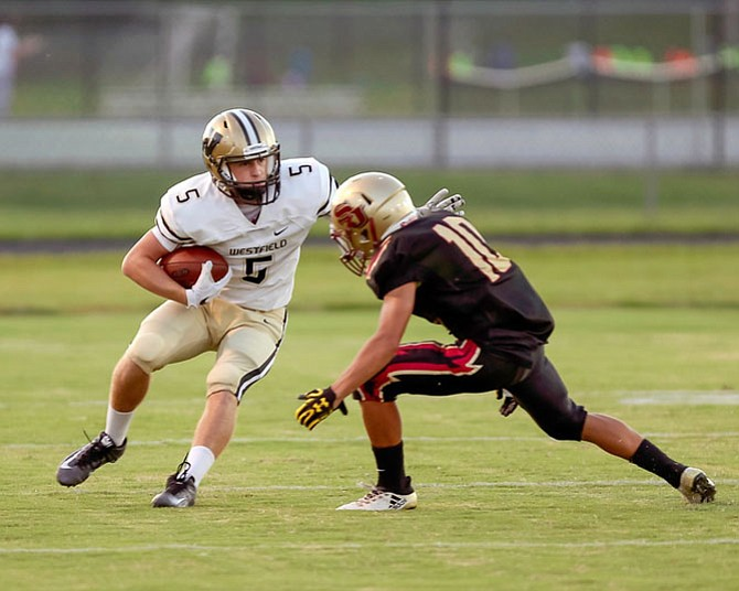 Gavin Kiley caught three passes for 67 yards and a touchdown in Westfield's win over Stonewall Jackson in Manassas.