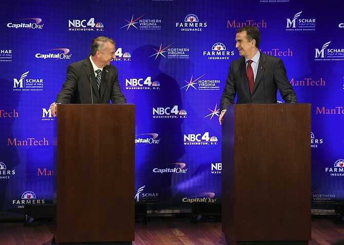 Virginia gubernatorial candidates, Republican Ed Gillespie and Democrat Ralph Northam, debate Tuesday evening, Sept.19, at the Capital One headquarters in McLean.