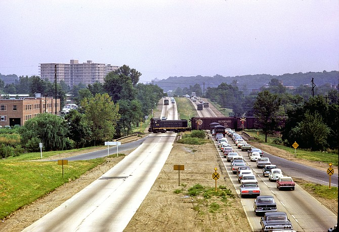 In the 1960's, the W&OD railroad still had a few at-grade crossings like this one at I-395 in Shirlington.