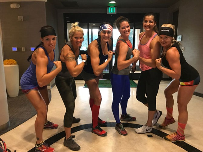 "Competitors from Season 5 pause to strike a Stone Cold pose (from left): Stephanie Huntsman, Rachel ""Goose"" Szakmary, Nikki Justice, Cat Brown, Nika Sedghi, and Brooke ""Beast Mode Barbie"" Van Paris. The photo was taken at their hotel in Los Angeles prior to departing for filming."