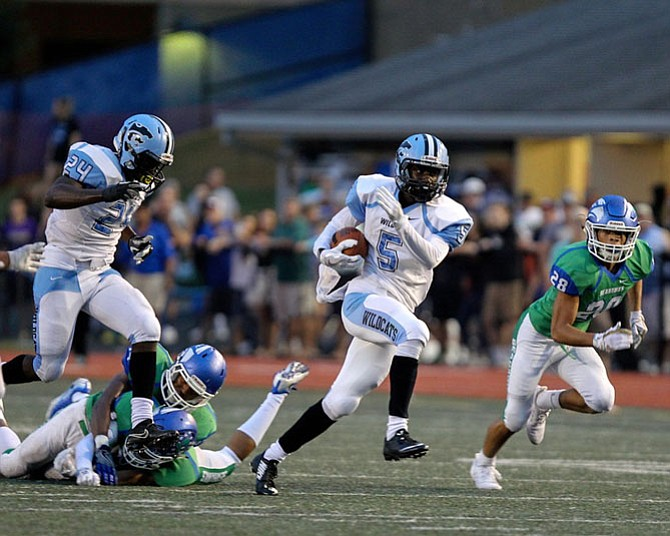 Centreville's Jordan Wright #5 opened scoring for Centreville with this 44-yard touchdown run in the 1st quarter. The Wildcats defeated South Lakes 22-9 on Friday, Sept. 22.