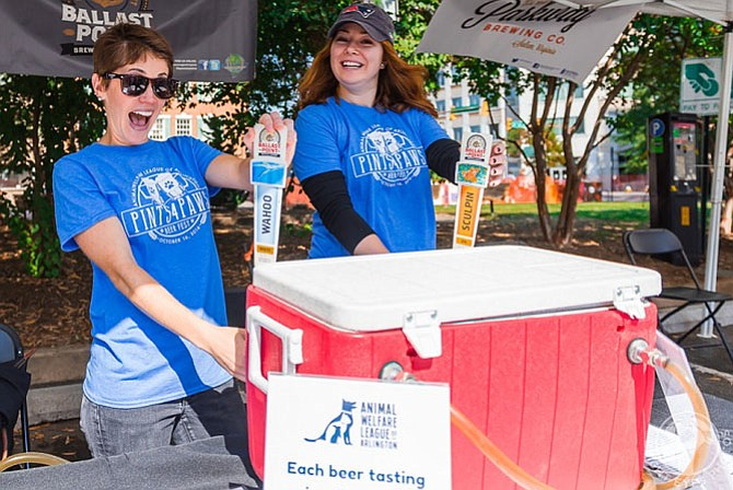 Volunteers pour beer at last year's Pints4Paws Beer Festival but it will be much of the same this year, on Sunday, Oct. 15  1-5 p.m. at Courthouse Plaza,  2250 Clarendon Blvd. A fundraiser for the Animal Welfare League, with music, food trucks, dog costumes and beer tastings. $35. Click here for the entire Arlington entertainment calendar.
