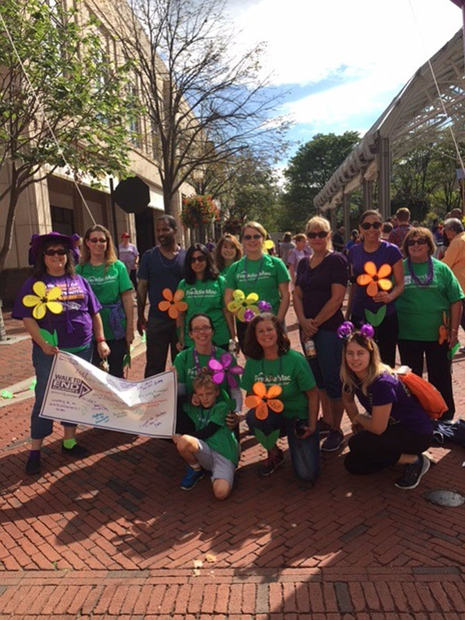 Debbi Johnson of Centreville joined the 2017 Northern Virginia Walk to End Alzheimer's. Her team consisted of members of her church, New Life Christian Church in Chantilly and her employer, Freddie Mac, including Ange Roeske, Denise Hargand, Kevan Fareed, Vandana Sharma, Christina Kangelaris, Elizabeth Gibson, Kathy Perrow, Keshia Jackson, Joanne Macomber, Aslynn Hogue, William Hogue, Debbi Johnson, and Kristen Johnson.
