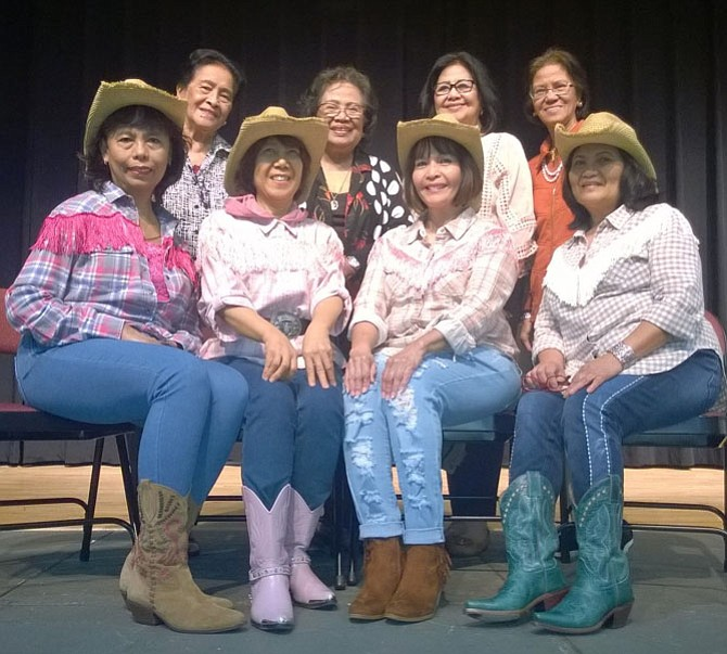 Although the women of the Chantilly Cenacle Group at St. Timothy Catholic Church hail from the Philippines, they kicked-up their heels and showcased skills they learned in a Western Line Dance class they took together at the Oak-Marr Recreation Center in Oakton.