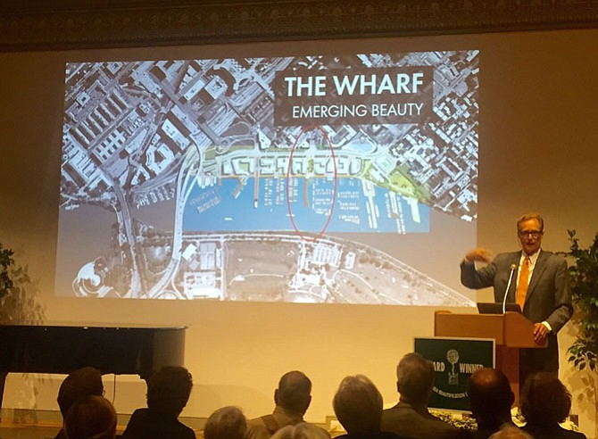 Landscape Architect Michael Vergason of Michael Vergason Landscape Architects of Old Town discusses his project at District Wharf at D.C.'s Southwest Harbor while addressing the crowd at the 2017 Alexandria Beautification Awards at the Lyceum.