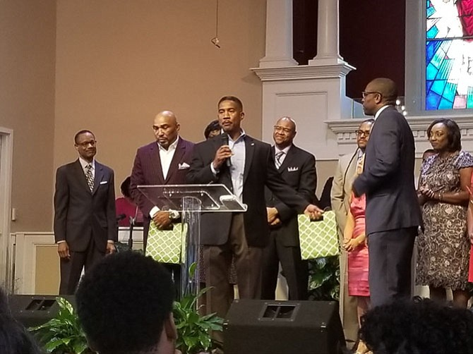Community Praise Church honors Councilman Willie Bailey Sr. and Michael Johnson, community outreach specialist for the City of Alexandria, during its Community Guest Day.