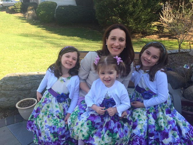 Shelane Gaydos with daughters Nadia, Sofia, and Olivia during Easter 2015.