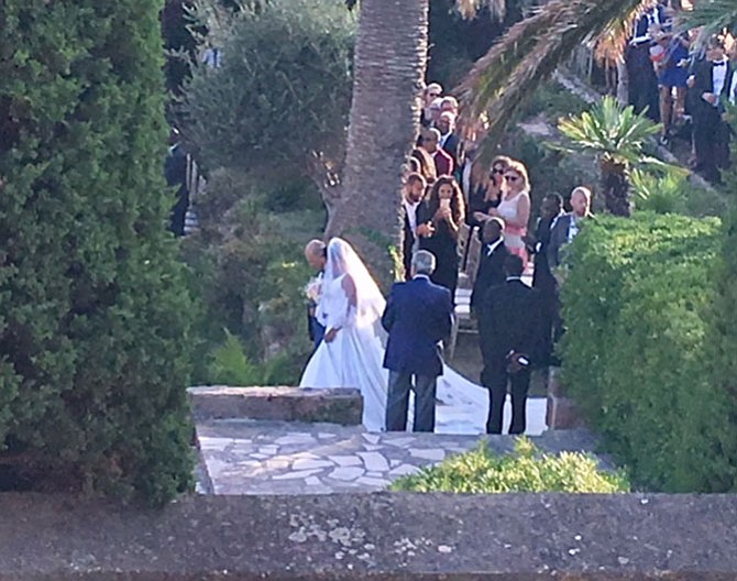 A photo I took from our bedroom window of the arrival of the African bride for her wedding inside the Chateau grounds.