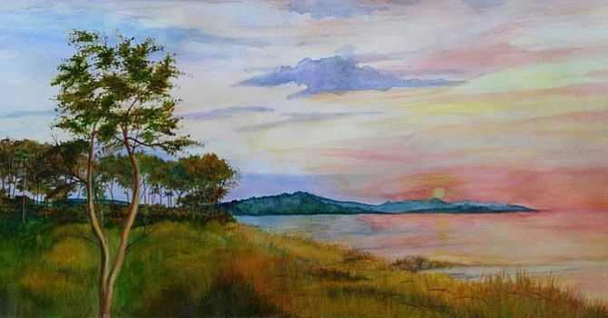 """Evening Light On The Marsh,"" a watercolor by Linda Jones."