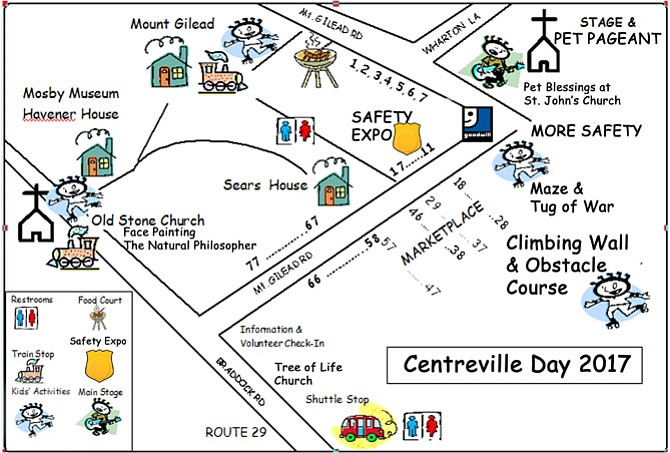 Map of Centreville Day 2017 attractions and activities.