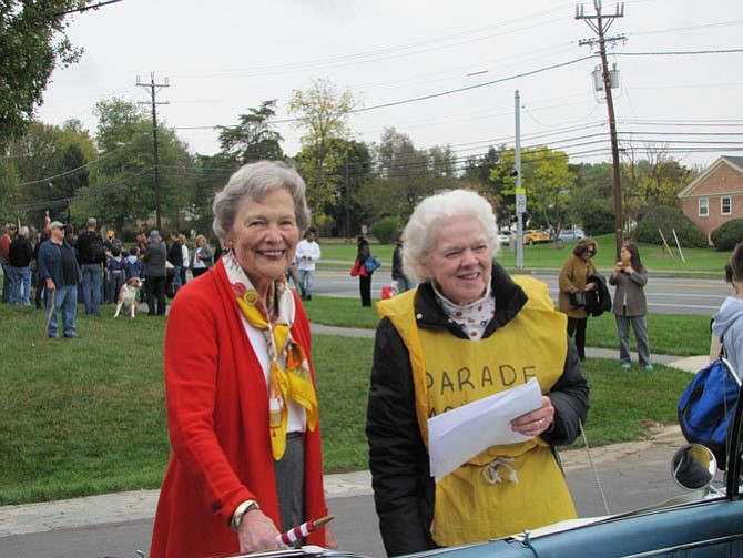 Jean Roesser, left, and Elie Cain at Potomac Day. Jean Roesser, former state senator, was honored as Grand Marshal.