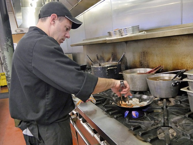 Chef Michael Wagner sautés Gulf shrimp briefly on high heat.