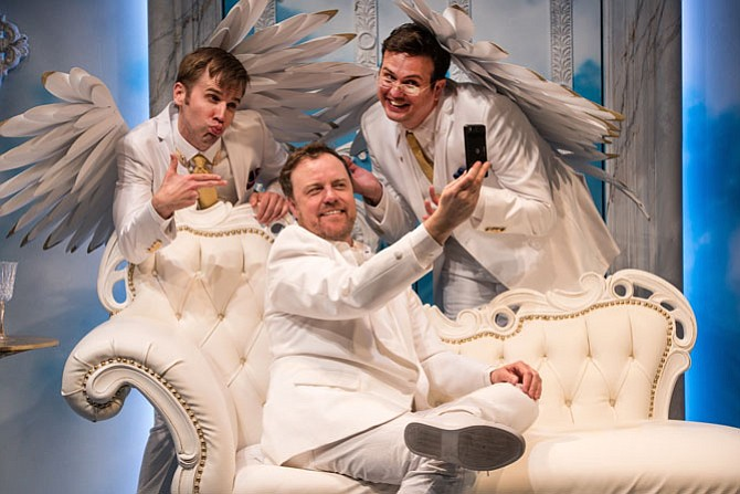 "Evan Casey (Michael), Tom Story (God) and Jamie Smithson (Gabriel) star in ""An Act of God"" at Signature Theatre."