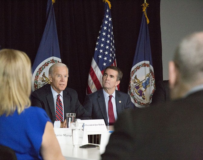 """This is a guy who understands what my dad always taught me, for real … 'Everyone, everyone, everyone in the world is entitled to be treated with dignity,'"" former Vice President Joe Biden (left) said of Democratic gubernatorial candidate and Lt. Gov. Ralph Northam (right)."