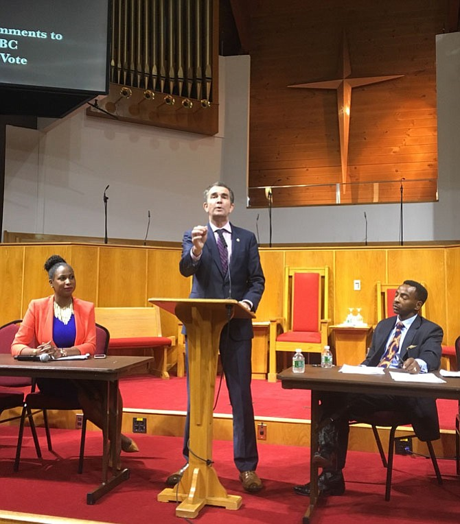 Ralph Northam, Democratic candidate for governor of Virginia, addressed Alfred Street Baptist Church's 13th Annual Political Forum, Oct. 12. Also pictured are Elroy Sailor, right, who spoke on behalf of Ed Gillespie, Republican candidate for governor; and Ashlei Stevens (left), a D.C.-based media relations director who moderated.