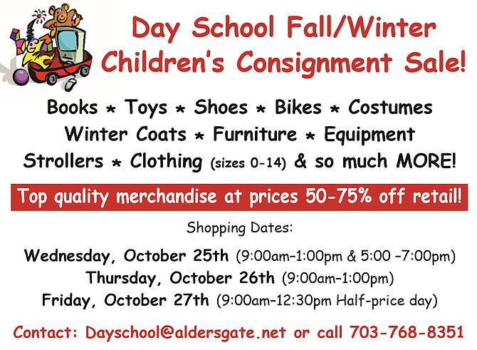 Day School Fall Winter Children's Consignment Sale Oct 25 27