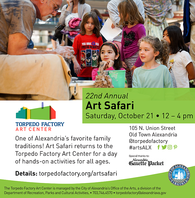 Sponsored: The Torpedo Factory Art Center 22nd Annual Art Safari takes place October 21 from 12:00 pm - 4:00 pm
