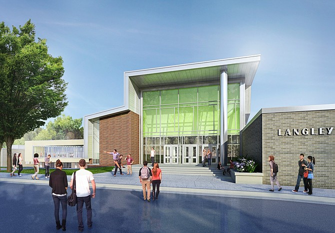 The rendering of the main entrance to the school shows the new library, which has tall windows on all three exterior walls, to the far left.