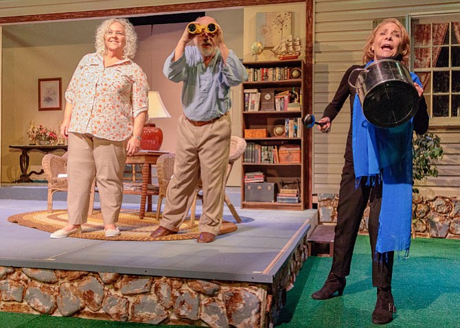"Lorraine Bouchard stars as Sonia, Mario Font stars as Vanya, and Carol Preston stars as Masha in LTA's production of ""Vanya and Sonia and Masha and Spike."""